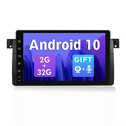 SXAUTO Android 10 Autoradio Compatibile con BMW E46/M3/3 series(1998-2005) -【2G/32G】 - Gratuiti Canbus & Telecamera Posteriore - 9 Pollici 1 DIN - Supporto 4G WLAN Bluetooth5.0 MirrorLink DAB Carplay