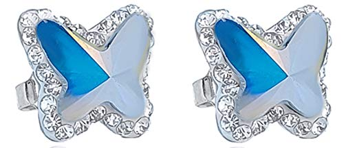 ENTREPLATA Pendientes Plata de Ley 925 Mujer Niña Mariposa Cristal Swarovski Color Blanco Nacarado