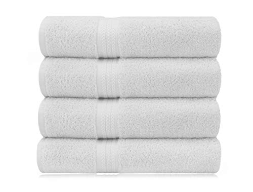 COTTON CRAFT Ultra Soft 4 Pack Oversized Extra Large Bath Towels 30x54 White Weighs 22 Ounces - 100% Pure Ringspun Cotton - Luxurious Rayon Trim - Ideal for Everyday use - Easy Care Machine wash