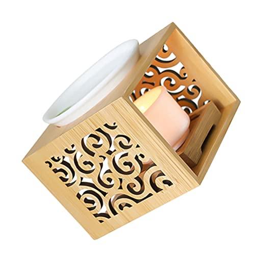Artibetter Quemador de Aceite Esencial de Madera Quemador de Fusión de Cera Perfumada con Candelabro Titular de Vela Aromaterapia Quemador de Aroma Difusor de Aceite Vela Calentador de