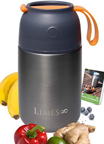 Limes 8 Thermobehälter für Essen 700ml Thermo Lunchbox | Edelstahl Warmhaltebehälter | Essensbehälter für Babynahrung, Suppen, Müsli to go | Speisegefäß BPA frei