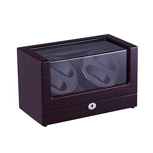 Tendencia de Moda Atractiva, Rendimiento de Alto c Caja de Winder de Reloj Watchautomatic con 4 Posiciones de Winder Storage Spacwood Shell Point Pinte Black Gloss 4 Modos