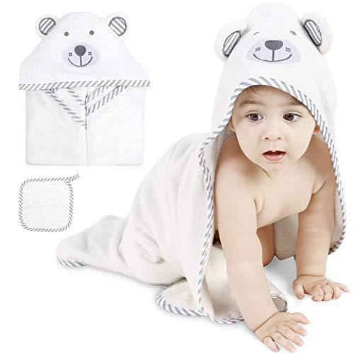 ABirdon Baby Kapuzenhandtuch, 100% Bio Bambus Baby Badetuch, Extra Saugfähig, Niedliches Bärenohrdesign, Weiß Weich Baby Badetücher für Neugeborene und Kinder 0-3 Jahre Alt, 90 x 90cm