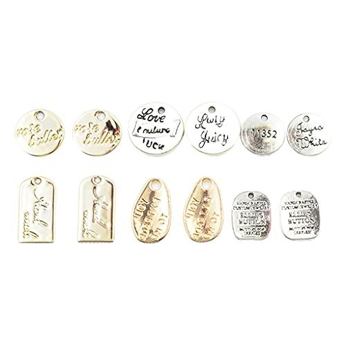 Harilla 12 Pares de Colgante de dijes de Metal de aleación de tamaño Mixto, para Collar de Pulsera DIY, fabricación de Joyas, Pendiente de Pulsera,