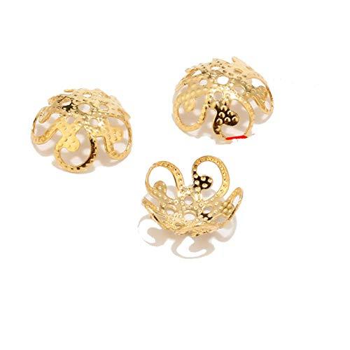 PJ1 10 unids de acero inoxidable tono de oro flores tapa de cuentas para la fabricación y componentes de la joyería y los componentes huecos Fit DIY Accesorios Hallazgos Tl0613 ( Color : Beads Cap 3 )