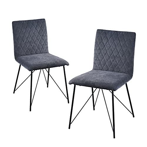 HeYork Juego de 2 sillas de comedor tapizadas en color gris para...