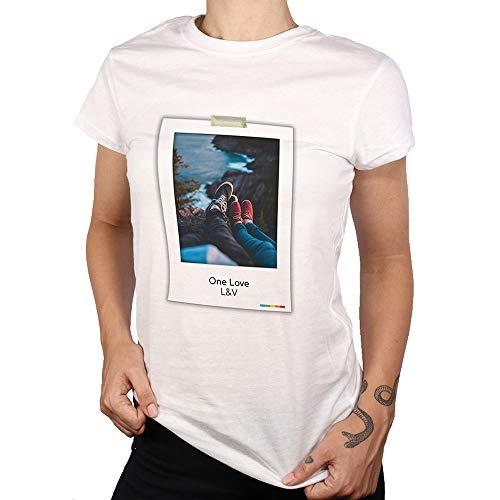 PROMO SHOP Camiseta Personalizada Mujer (Imagen y Texto) · Manga Corta/Talla S · 100% Algodón · Impresión Directa (DTG) · Estas Camisetas Personalizas ¡Se Imprimen Directamente sobre el Tejido!