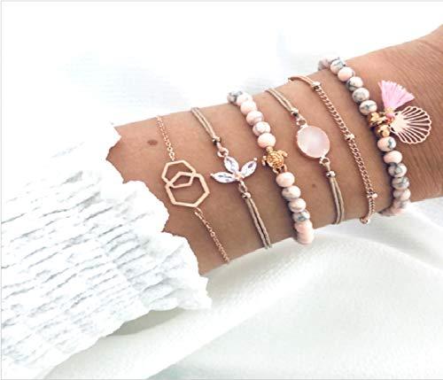 Cathercing rosa Perlen Armband Set für Mädchen Frauen Schmuck Armband Strand mit Kristall dünne Kette Armband Fußkettchen Set verstellbar täglicher Schmuck Geschenk für Teenager Mädchen (6 Stück)