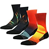 HUSO Team Basketball Socks for Men Women, Performance Quick Wicking Mesh Breathable Crew Bicycle Mid Calf Athletic Socks 4 Pairs (Multicolor, L/XL)