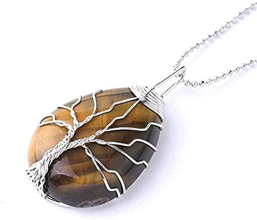 FACAIBA Necklace Necklace Natural Stone Copper Wire Pendant Necklace Gift for Women Men Long Chain Tree of Life Statement Jewelry Gift for Women Men Gifts