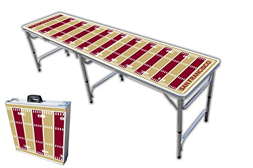 8-Foot Professional Beer Pong Table - San Francisco Football Field Graphic