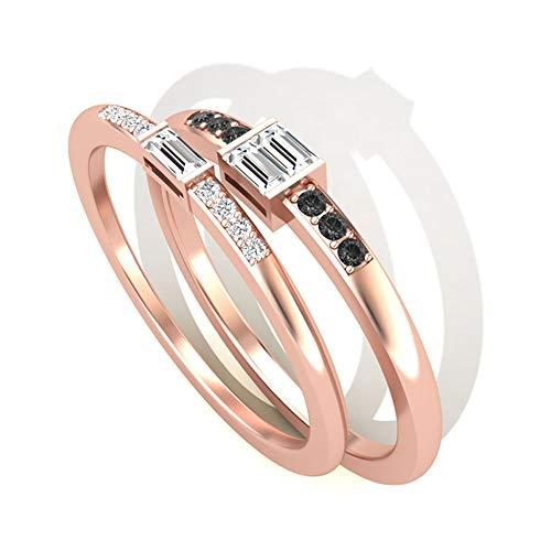 Juego de anillos de novia de 0,23 quilates con certificado IGI, diamante negro, anillo de aniversario de boda para mujer, anillo de aniversario de boda, promesa de cumpleaños, anillos apilables