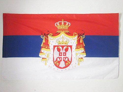 AZ FLAG Flagge KÖNIGREICH VON SERBIEN 1882-1918 90x60cm - SERBISCHE Fahne 60 x 90 cm Scheide für Mast - flaggen Top Qualität