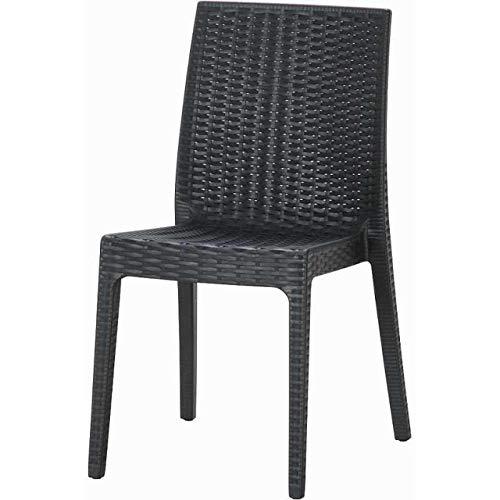 ガーデンチェアー ラタン調 2脚 セット 屋外 庭 イタリア カフェ テラス 椅子 ブラック