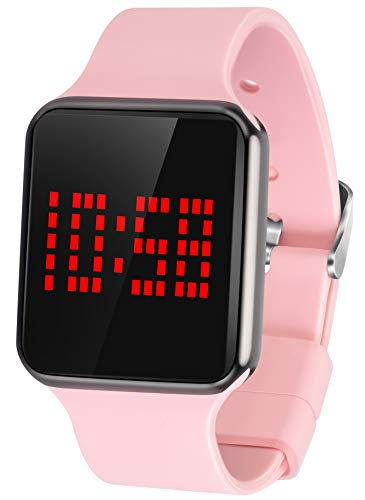 WUTAN Womens Digital Watch Sport Led Touch Stylish Electronic Digital Wrist Watches for Ladies Teens Girls with Silicone Band Pink (sn145 Womens Digital Watch Pink)