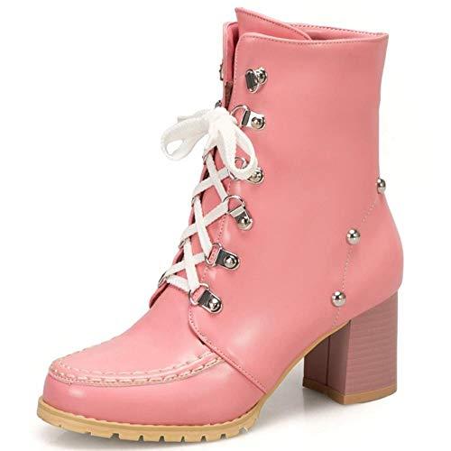 Gloednieuwe Big Size 43 Vierkante Hoge Hakken Modieuze Vintage Schoenveters Enkellaars Winter Schoenen Vrouwen Laarzen Vrouwelijk, Roze, 8.5