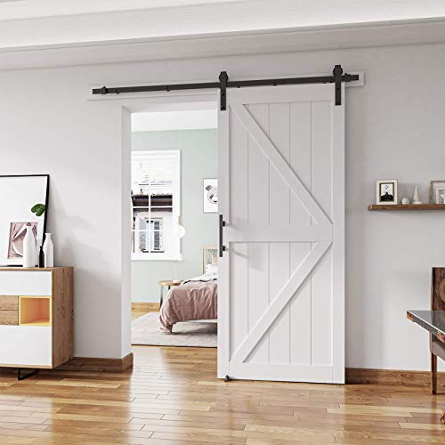 ALAMEDADT 36'' x84'' Sliding Barn Door Kit with 6.6 Ft Barn Door Hardware Kit, MDF, Solid Core, Combined with Handle and Floor Guide-Assembly Required-Include Installation Manual, K Shape, White
