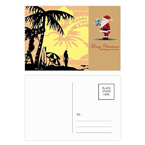 Kokosnoot Boom Strand Bloem Illustratie Kerstman Ansichtkaart Set Thanks Card Mailing 20 stks