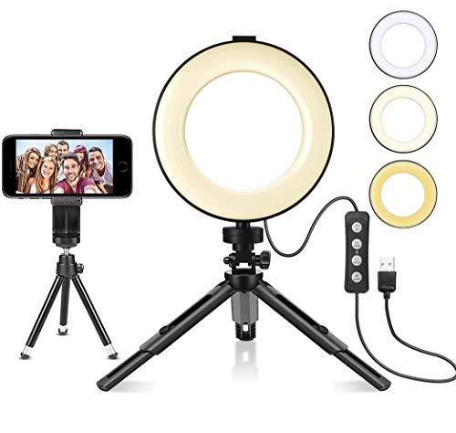 classement un comparer Anneau lumineux sur trépied à LED, lampe selfie 6 pouces avec télécommande Bluetooth, 3 modes…