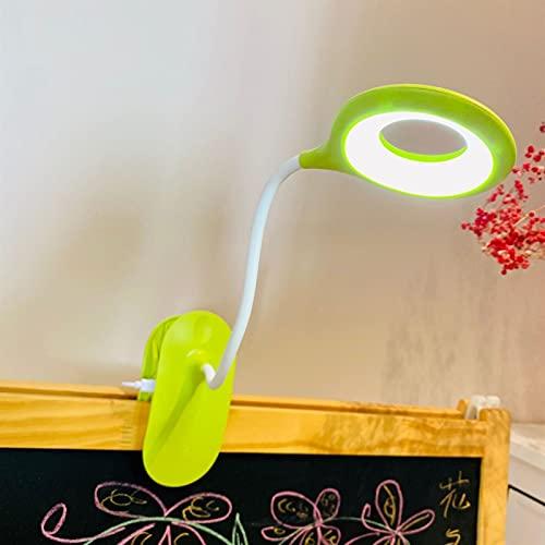 Luz Lectura Lámpara de Escritorio LED Recargable 3W USB Lámpara LED con Pinza Clip en Luz de Lectura Anillo de Luz LED Luz de Cama Flexible de Cuello de Cisne de 360 ° Oficina (Color : Green)