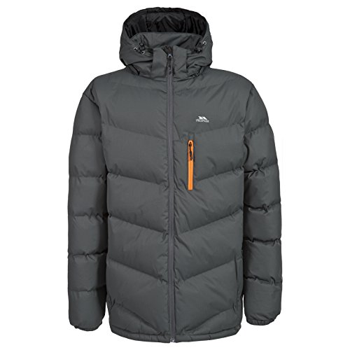 Trespass Blustery, Ash, M, Warm Padded Waterproof Winter Jacket with Removable Hood for Men, Medium, Grey