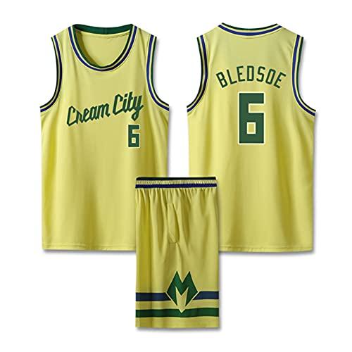 DDOYY Bledsoe # 6 Bucks - Traje de jersey de baloncesto, ropa deportiva sin mangas, pantalones cortos de baloncesto, uniformes de competición, espectáculo de fiesta amarillo-S