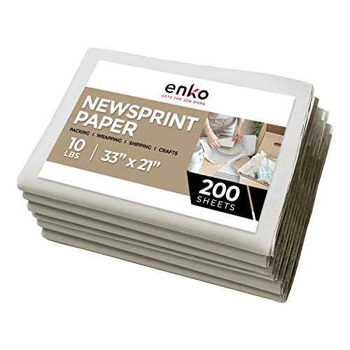 enKo Newsprint Packing Paper for Moving & Shipping - 10 lbs - (33 x 21 Inch) 200 Sheets of Blank, Clean & Unprinted Newspaper Wrap Paper for Dish & Glass Wrapping - Premium Storing & Moving Supplies