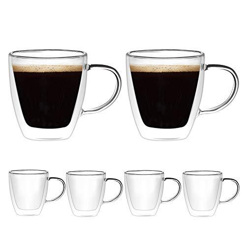 [6-Pack, 160ml/5.4 oz] DESIGN•MASTER - Tasses à espresso de première qualité, en verre isolant à double paroi avec poignée, en verre thermo-isolant