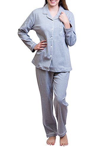 MyDream Women 100% Cotton Soft Cozy Pajamas Set Button Front Long Sleeve Top Sleepwear Grey