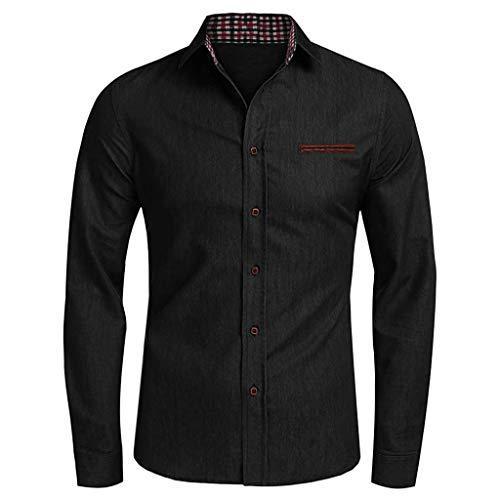 Yivise Camisa Vaquera para Hombre Camisas Casuales de Manga Larga con Botones Blusa(Negro, XX-Large)