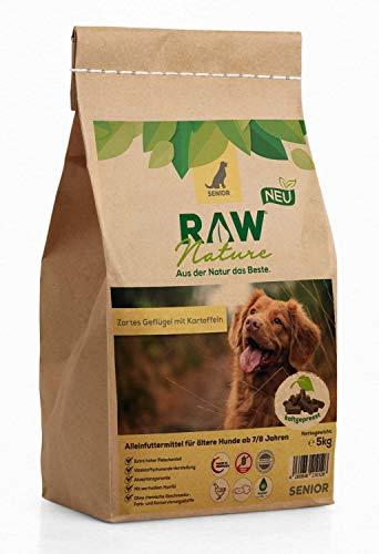 RAW Nature Trockenfutter Senior - Natürlich Kaltgepresst - Getreidefreies Hundefutter - für ältere Hunde ab 7/8 Jahren (5 kg)