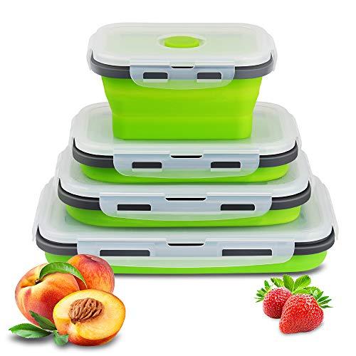 Manfore - Contenitori pieghevoli in silicone, 4 pezzi, contenitori per il pranzo Bento con coperchio, resistenti alle alte temperature, per frigoriferi a microonde, colore: verde