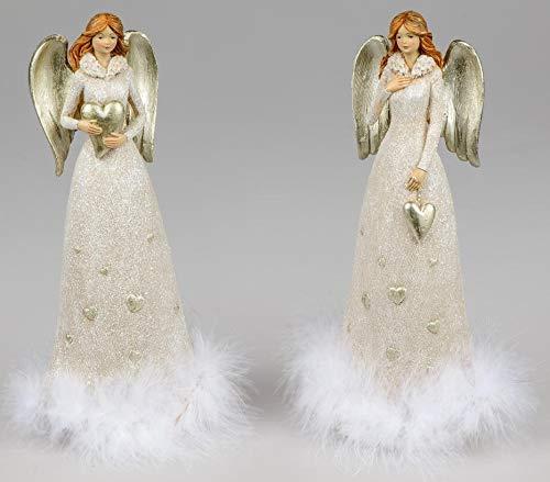 Formano Engel cremefarben sort. 12x27cm aus Kunststein gefertigt und mit silbernen Flügeln, Relief und Federn verziert