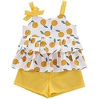 Conjuntos de Ropa para Bebés,Blusa Sin Mangas para Niñas con Estampado de Frutas + Pantalones Cortos Ropa de Verano