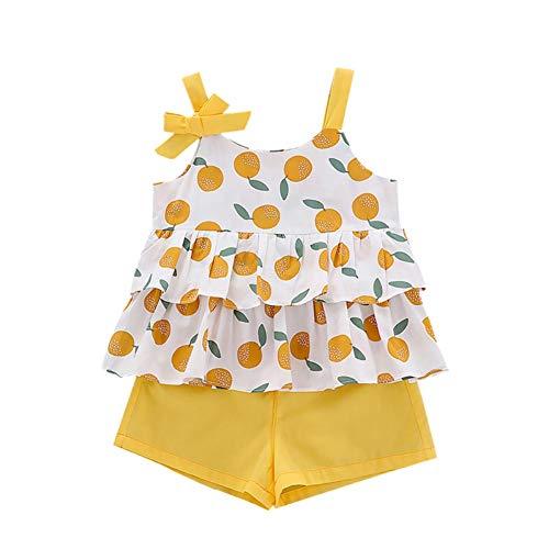 BAOBAOLAI Conjunto de roupas infantis para bebês, meninas, verão, estampa de frutas, sem mangas, colete + shorts