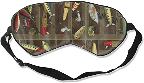 Geen druk Verstelbaar Oogmasker, Comfortabele Lichtgewicht Zijde Slaap Masker, Blinddoek Oogdeksel voor Slapen Shift Werk Naps Reizen Oogschaduw (Vintage Vissen Lokken stijl)