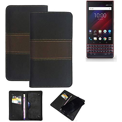 K-S-Trade Handy Hülle Für BlackBerry Key 2 LE Dual-SIM Schutzhülle Walletcase Bookstyle Tasche Schutz Hülle Handytasche Wallet Cover Kunstleder Snapcase Dunkelbraun, 1x