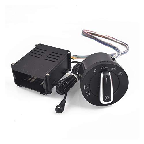 MeiZi Coche Chrome Light Switch Auto Lámpara Sensor Light Fit para VW Polo 9N 9N3 Passat B5.5 Transpoter Sharan 1C0941531 / 3BD + Faro automático