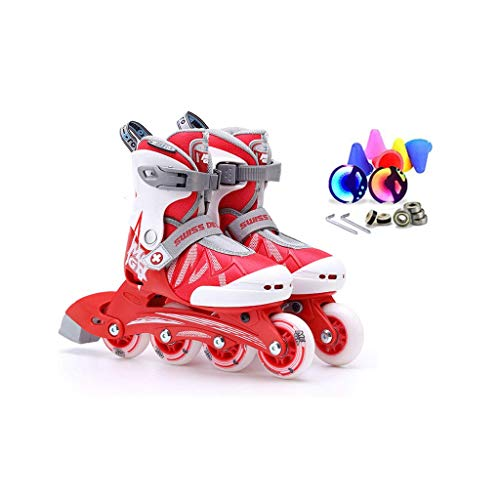 Taoke Inline Skates, Geschwindigkeit Skates for Kinder, EIN voller Satz Roller Skates, Schlittschuhe Einstellbare (Farbe: Rot, Größe: L (35-38) 11 Jahre oder älter) dongdong
