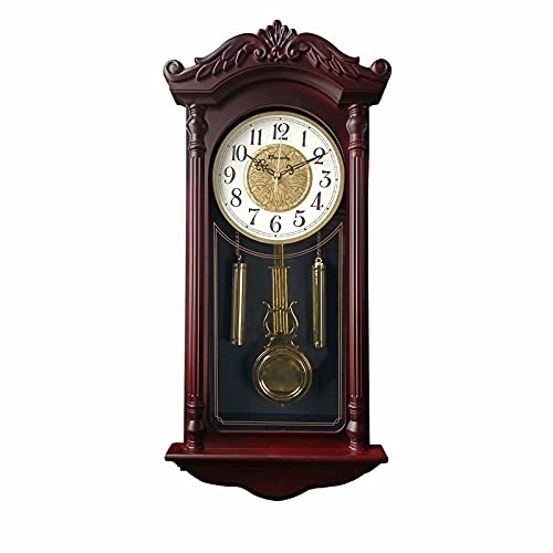Grandfather Clock, Old-Fashioned Pendulum Clock, Silent Living Room Decoration Clock, Pendulum Wall Clock Battery-Powered, Used for Dining Room, Kitchen, Office and Home Decoration (25x11.4 inches)