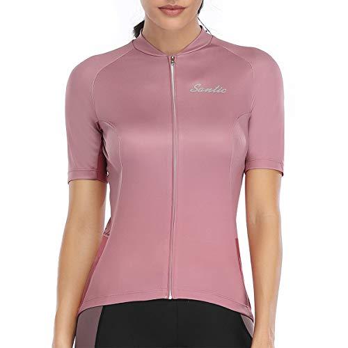 Santic Women Cycling-Jersey Short-Sleeve Bike-Jersey - Full Zip Tight Tops 2020 Summer Pink
