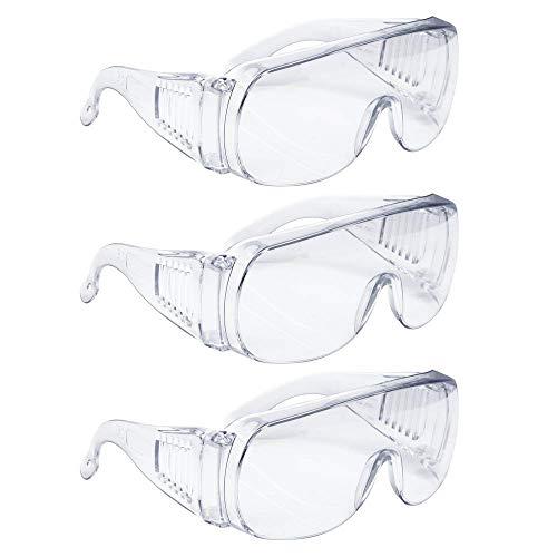 Iceblueor - Occhiali di sicurezza, 3 pezzi, standard Z87+, occhiali protettivi, dispositivi di protezione individuale per costruzione, fai da te, progetti di casa e lavoro di laboratorio