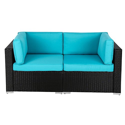 Wicker Loveseats Patio Sectional Corner Sofa Rattan Outdoor Thick Sofa Set