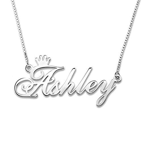 Bo&Pao Individuelle Krone Namenskette 925 Sterling Silber mit einem Wunschname, Halskette Silber/Rosegold/Gold mit Name