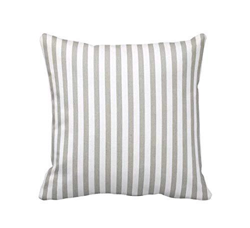 73Elley - Federa per cuscino grigio a righe, per cuscini decorativi per cuscini da divano, stile shabby chic