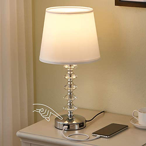 Touch Crystal Lamp for Bedroom with USB Ports, Kakanuo White USB Bedside Table Lamp Nightstand Lamp, 3 Way Dimmable Crystal Touch Lamp for Bedroom, Living Room and Office (LED Bulb Included)