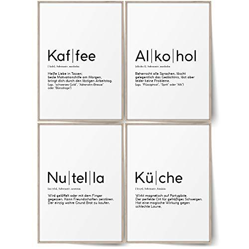 BLCKART Definition Küchen Bilder Poster Set Stilvolle Wandbilder mit Definitionen Esszimmer Wanddeko (Kaffee Küche Alkohol & Nutella, A4 (ohne Rahmen))