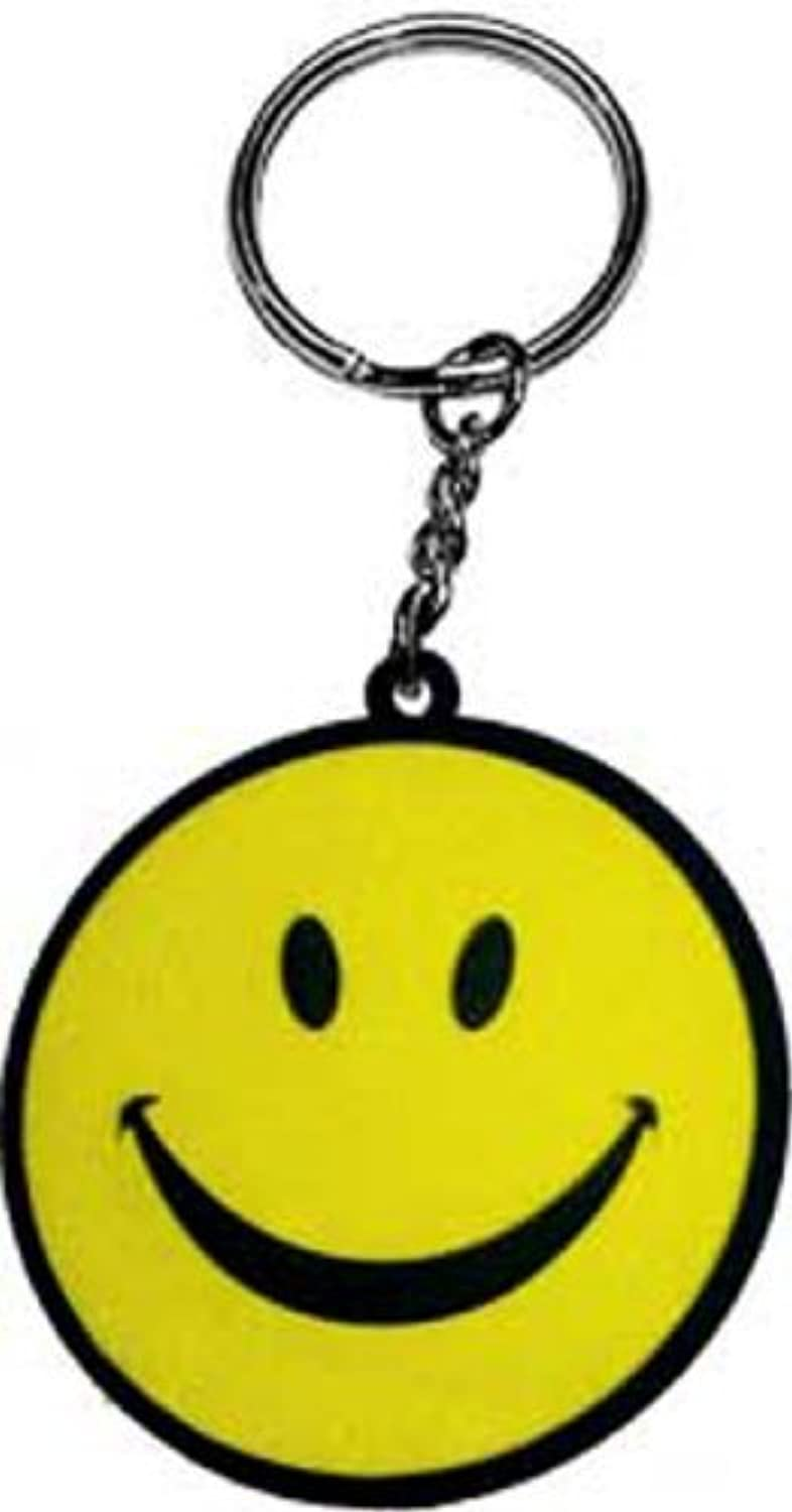 Licenses Products Yellow Happy Face Rubber Keychain by Licenses Products