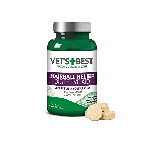 Vet'S Best Cat Hairball Relief Digestive Aid| Vet Formulated Hairball Support Remedy | Classic Chicken Flavor | 60 Chewable Tablets
