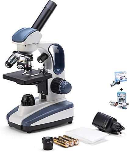 HYCQ Microscopio Compuesto monocular, microscopio electrónico biológica óptico, 40 x 1.000 aumentos, Enfoque Fino preciso, área Grande Adicional, 25 x Lente